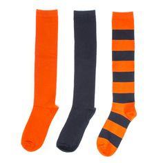 Navy + Orange 3-Pack Knee-High Socks #Bears #Chicago #Broncos #Blue #Mets