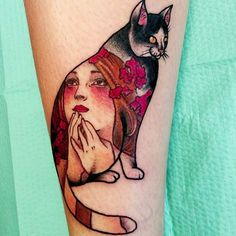 A playful take on both Mucha and Japanese Irezumi tattooing by Stephanie…