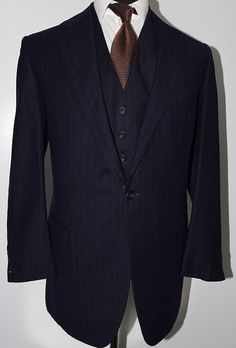 Huntsman Suit (Men's Pre-owned Savile Row Bespoke 3 Piece Navy Flannel Designer Suit)