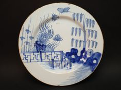 c1750 ANTIQUE 18thC LONDON BLUE & WHITE HAND PAINTED CHINOISERIE DELFT PLATE
