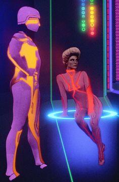 "allronix: """"TRON (1982)"" Two denizens of Encom's Red Sector """