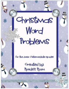 This file contains 14 Christmas and winter themed  math word problems that cover a variety of concepts and skills.  Each word problem is displayed ...