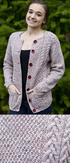 Joan's Cardigan Free Knitting Pattern. Ladies cabled cardigan free pattern to knit with long sleeves and pockets.