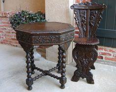 Antique French Carved Oak BARLEY TWIST TABLE -Renaissance -Sofa Reading Table #Renaissance