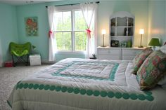 "pre teen girls room with teal accents | The walls are Sherwin Williams Tame Teal SW6757. She wanted a ""happy ..."