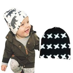 New 2016 INS infant baby hat newborn Baby Boy Girl Hats cartoon printed Toddler  Infant Kids 7b7f5746ab8f