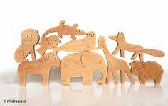 LOS animales de 4 animales juguetes ecológicos de por mielasiela