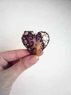 Ombre Gold Polymer Clay Heart Pendant / Handmade by EleinsKingdom
