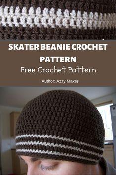 Skater Beanie Crochet Pattern ❤️ MyCrochetPattern Beanie Pattern Free, Crochet Beanie Pattern, Free Pattern, Crochet Patterns, Mens Crochet Beanie, Crochet Men, Free Crochet, Crochet Hook Sizes, Crochet Hooks