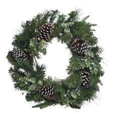 Add a beautiful festive touch to your home this Christmas with our luxury cone and berry wreath. Stylishly designed to incorporate a rustic twist with cream berries adorned in glitter, pinecones and a fir tree base, this will look stunning when hung on a door in your home. <BR><BR>Warning: <BR>This is a decoration, not a toy. Keep out of reach of young children. Small parts. Keep away from fire.