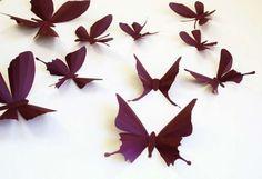 Farfalle bordeaux - Farfalle di carta per bambini.