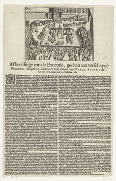 Anonymous | Terechtstelling van personen schuldig bevonden aan de dood van Karel I, 1660, Anonymous, 1660 | Executie op schavot van meerdere personen schuldig bevonden aan de onthoofding van koning Karel I in 1649, te Londen op 21 oktober 1660. Op het blad gedrukt onder de plaat een beschrijving in 2 kolommen in het Nederlands, hierin worden de terechtstellingen genoemd van onder andere Jan Carew (25 oktober) Jan Cook (26 oktober) en Thomas Scot (27 oktober).