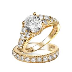 Golden Years Engagement Ring Set  #blingjewelry