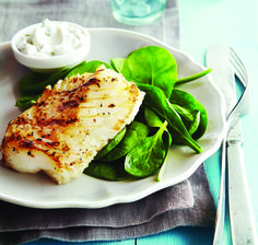 Greek-Style Grilled Fish with Cucumber Mint Yogurt