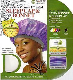 Donna's Olive Oil + Vitamin E Treated Sleep Cap & Bonnet (Random Color) Hand Therapy, Organic Coconut Oil, Vitamin E, Olive Oil, Bathing, Image Link, Hair Accessories, Sleep, Cap