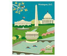 Affiche WASHINGTON, papier tissé - 21*26  - loose petal
