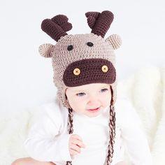 Handmade crochet Reindeer Hat by Ruby & Custard