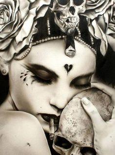 Woman and Skull by Brian Viveros Cindy Sherman, Dark Side, Cigarette Girl, Geniale Tattoos, Mark Ryden, Sugar Skull Art, Sugar Skulls, Smoke Art, Luis Royo