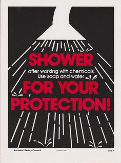 Vintage Workplace Safety Poster National Safety Council - Shower For Your Protection Public Information, Information Poster, National Safety, Shop Signage, Industrial Safety, Safety Posters, Poster Display, Poster Prints, Graphic Posters