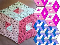 PDF Crochet Pattern. 3D illusion stacked cubes No 2
