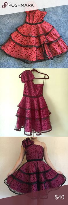 Cute pink dress with black polka dots Excellent condition, only worn once for prom and in the closet since then lol. I'm about 5 fts and the dress length is slightly above the knee as seen on pic. Pearl Georgina Chapman of MARCHESA Dresses One Shoulder