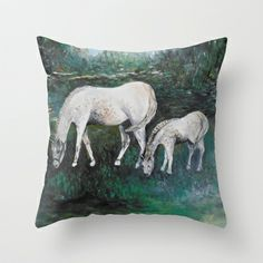 Dappled Mare with Dappled Foal Throw Pillow by  RokinRonda - $20.00