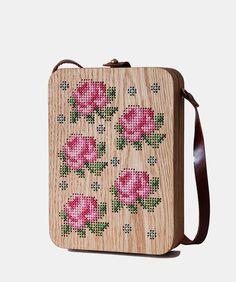 Rose Cross Stitched Oak Wood Bag by Grav Grav $420