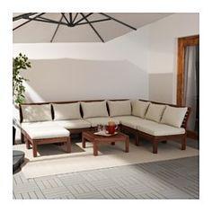 IKEA - ÄPPLARÖ / HÅLLÖ, Hoekbank 3+3 met kruk, buiten, bruin gelazuurd/beige, , Door verschillende zitelementen te combineren, kan je een loungeset in een vorm en afmeting samenstellen die bij je terras, balkon of tuin past.Het kussen gaat langer mee doordat het keerbaar is en dus aan beide kanten te gebruiken.De overtrek is makkelijk schoon en netjes te houden omdat deze afneembaar is voor de machinewas.Je kan het zitcomfort nog verder verbeteren en je zitbank een persoonlijk tintj...