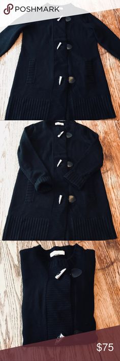 "Michael Kors Sweater Coat Beautiful black Michael Kors toggle sweater coat. 31"" long. Armpit to armpit 19"". Size M. Slightly pilling. Michael Kors Sweaters"