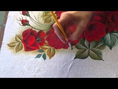 Rosas vermelhas parte final - YouTube One Stroke Painting, Painting Videos, Tole Painting, Fabric Painting, Painting Techniques, Artist Painting, Painting Tutorials, Phone Wallpaper Pink, Hand Painted Dress