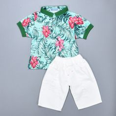 Boy clothing set Flower Print short T-shirt tops + white Harem shorts pants 2016 summer gentleman kids boy clothes set meninos