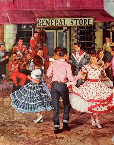 Image from 1958 square dancing calendar. general store