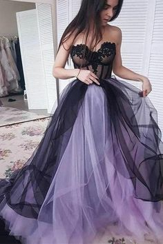Cute Strapless Sweetheart Long Party Dress Tulle Sweep Train Prom Dress D2622