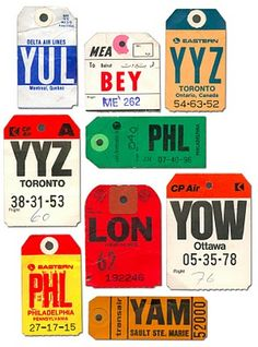 luggage- MORE AIRPORT TAGS - LOVE THE GRAPHICS AND COLOUR