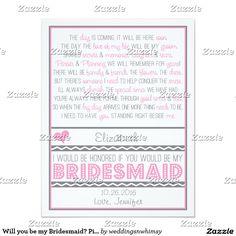 Will you be my Bridesmaid? Pink/Gray Poem Card V2