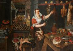Jean Baptiste de Saive (circle) - Kitchen Interior with Maid (1563)