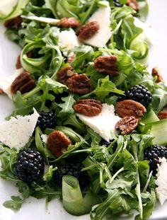 Blackberry Arugula Salad with Feta and Candied Pecans