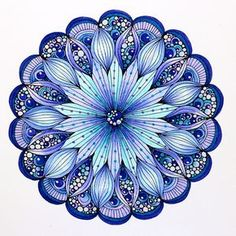 "© Marie Browning, CZT. Design from Valentina Harper's ""Creative Coloring Mandalas"". Colored with the Dual Brush Markers, and accented with Gel Pens."