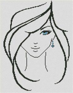 Devushka-s-golubyimi-glazami-300 Схема для вышивки scheme for cross stitch