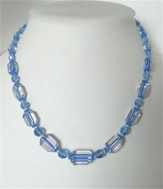 Vintage Art Deco necklace Nautical blue crystal. Rare! $125.00
