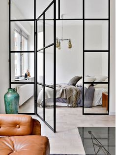 BEDROOM DESIGN IDEAS - Find your favorite bedroom photos here. Browse through images of inspiring bedroom design ideas to create your perfect home. Home Bedroom, Modern Bedroom, Dream Bedroom, Bedroom Wall, Bedroom Ideas, Scandinavian Doors, Steel Doors And Windows, Estilo Interior, Cuir Vintage