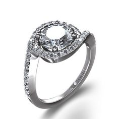 Pave Swirl Diamond Side Stone Ring in 14k White Gold