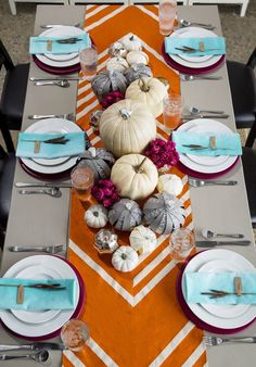 Love the table runner! Set a pretty table-scape this Thanksgiving with this inspiring color palette. Thanksgiving Table Runner, Thanksgiving Tablescapes, Thanksgiving Decorations, Thanksgiving Crafts, Fall Crafts, Holiday Crafts, Holiday Fun, Festive, Table Orange