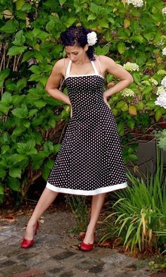 Swing Dress Black w/ White Polka Dots by missbrache on Etsy, $118.00