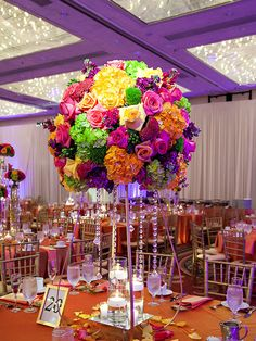 The Chic Technique: Add some color to your reception and plan it at the DoubleTree - a perfect venue for any event you might have coming up! Quinceanera Decorations, Quinceanera Party, Reception Decorations, Event Decor, Wedding Themes, Wedding Colors, Wedding Flowers, Mexican Wedding Centerpieces, Mexican Birthday Parties