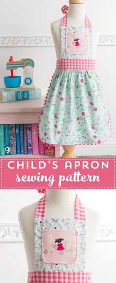 Learn how to sew an apron for a child with this free child's apron pattern. Ideas for sewing children's aprons, kids apron patterns Child Apron Pattern, Apron Pattern Free, Sewing Patterns Free, Free Sewing, Apron Patterns, Pattern Sewing, Childrens Apron Pattern, Childrens Sewing Patterns, Clothes Patterns