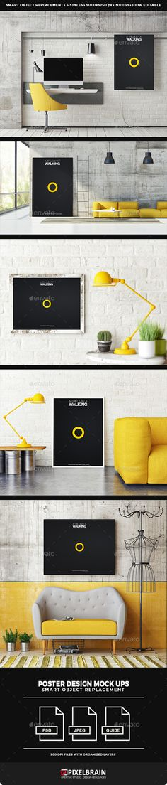 Posters Mock-up Design. Download here: http://graphicriver.net/item/posters-mockup-design/15334873?ref=ksioks