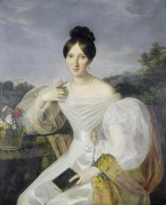 A lady in a white dress and shawl before a Viennese landscape (19th century). Workshop of Ferdinand Georg Waldmüller (Austrian, Romantic, 1793–1865).  Oil on canvas.