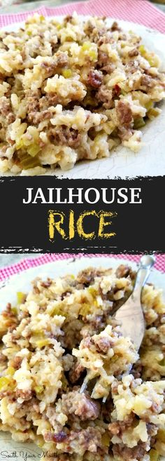 My new favorite recipe Everyone LOVED it Great potluck or party food idea Jailhouse Rice Dont let the name fool you This easy dinner idea is also a fabulous potluck or p. Easy Potluck Recipes, Rice Recipes For Dinner, New Recipes, Easy Meals, Cooking Recipes, Favorite Recipes, Easy Dinner Party Recipes, Easy Rice Recipes, Cooking Games