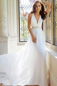A-line Plunging V-neck Chiffon See-through Back Wedding Dress - Shedressing.com
